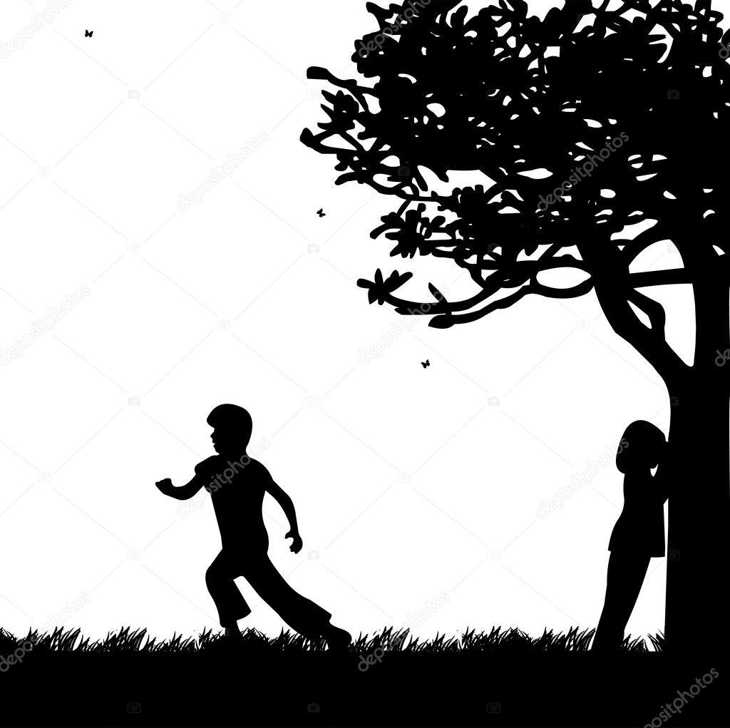 Kinder Spielen Und Verstecken In Der Park Silhouette