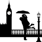 Couple in love with umbrella in front of Big Ben in London silhouette — Stock Vector