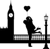 Couple in love with heart balloon in front of Big Ben in London silhouette — Stock Vector