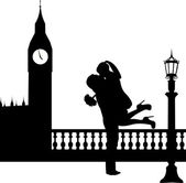 Couple in love with bouquet of flowers in front of Big Ben in London silhouette — Stock Vector