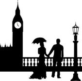 Wedding couple in front of Big Ben in London silhouette — Stockvektor