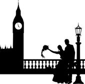 Wedding couple in front of Big Ben in London silhouette — Stock Vector