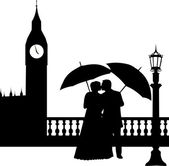 Wedding couple in front of Big Ben in London silhouette — Stock Vector