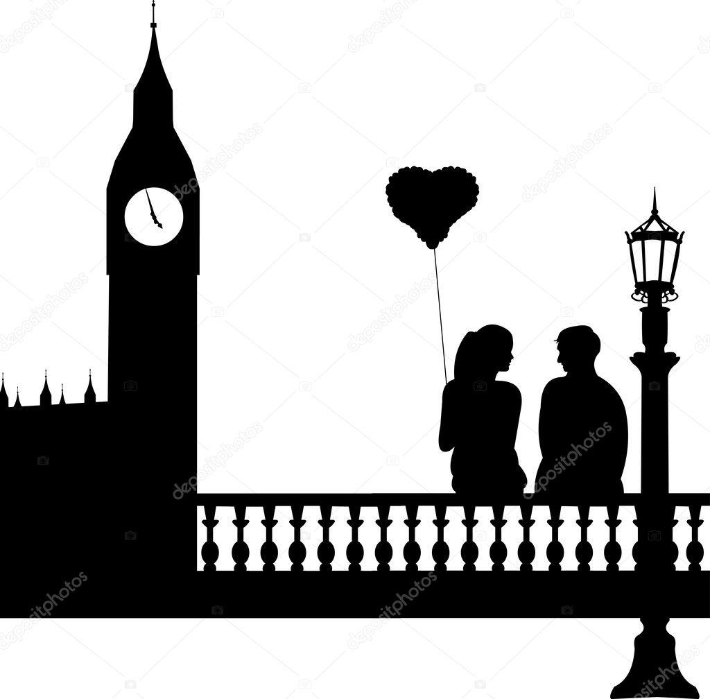 Cityscape Wall Stickers Coppia In Amore Davanti Al Big Ben A Sagoma Di Londra