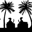 Silhouettes of girls on the beach drinking cocktails in summer under palm tree — Stock Vector