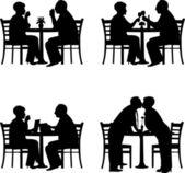 Silueta krásné důchodce starší pár společně v odlišné situaci — Stock vektor