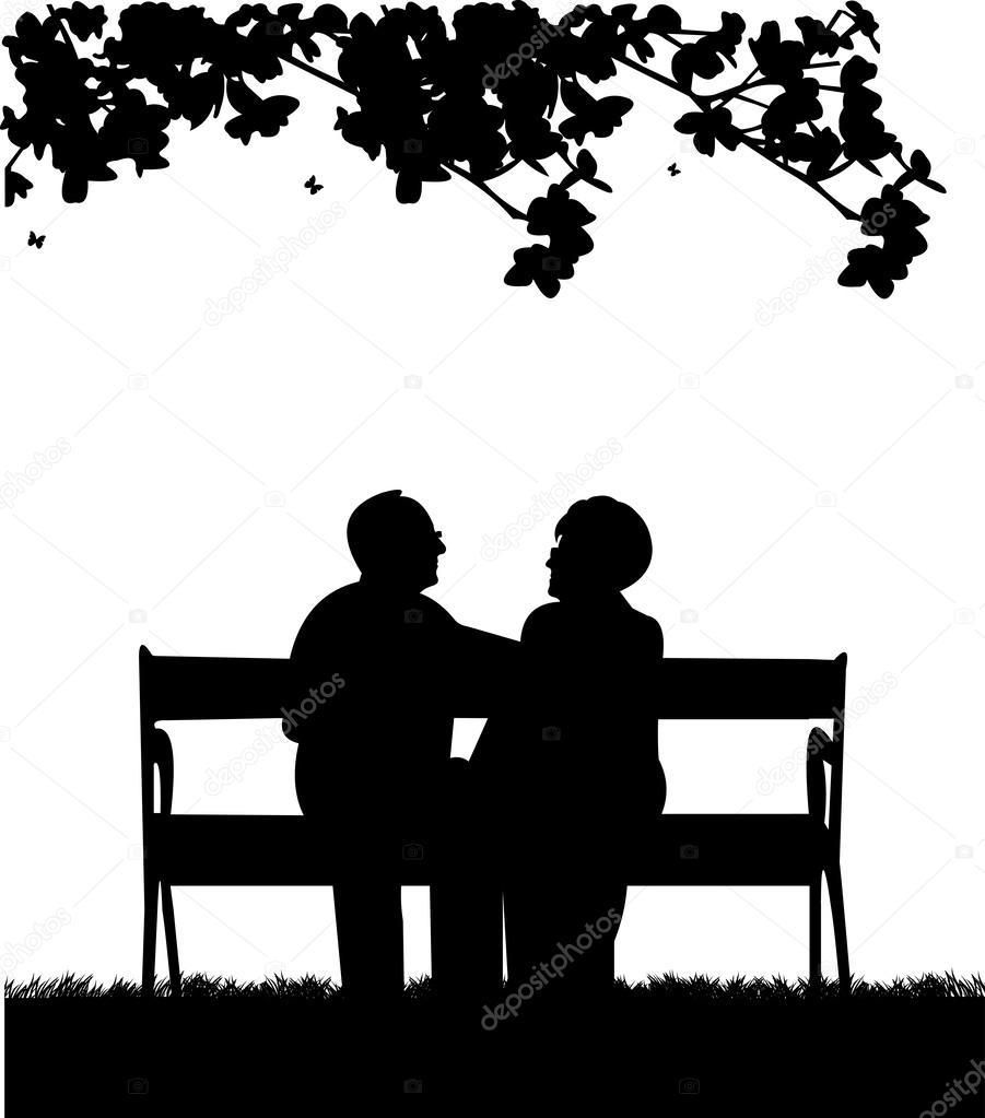 banco de jardim vetor: idoso sentado no banco, no parque ou jardim – Ilustração de Stock