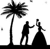 Wedding couple, groom and bride on seacoast between the palms on the beach silhouette — Vetorial Stock