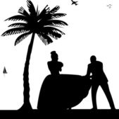 Wedding couple, groom and bride on seacoast between the palms on the beach silhouette — Vector de stock