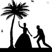 Wedding couple, groom and bride on seacoast between the palms on the beach silhouette — 图库矢量图片