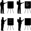 School teachers with book in class teach your text on blackboard silhouette — Vettoriale Stock #27084949