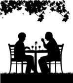 Lovely retired elderly couple having a romantic dinner silhouette — Stock Vector