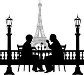 Lovely retired elderly couple having a romantic dinner in front of Eiffel tower in Paris silhouette — Stock Vector