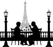 Lovely retired elderly couple having a romantic dinner in front of Eiffel tower in Paris silhouette — Stock Vector