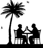 Lovely retired elderly couple drinking cocktails on the beach under palm tree — Stock Vector