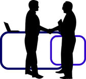 Business background with business people shaking hands in office silhouette on layered — Stock Vector