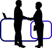 Business background with business people shaking hands in office silhouette on layered, one in the series of similar images — Stock vektor