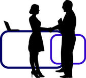 Business background with business people shaking hands in office — Stock vektor