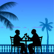 Lovely retired elderly couple drinking wine on the beach under palm tree — Stock Vector