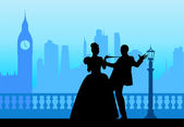 Wedding couple in front of Big Ben in London silhouette scene — Stock Vector