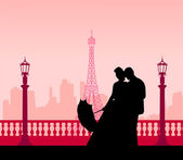 Wedding couple in front of Eiffel tower in Paris silhouette scene — Stock Vector