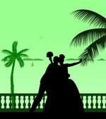 Wedding couple on the beach silhouette scene layered — Stock Vector