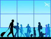 Passengers with luggage in airport lounge silhouette scene layered — Wektor stockowy