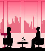 Silhouettes of girls talk scene layered — Stock Vector