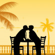 Lovely retired elderly couple celebrate their anniversary on the beach under palm tree — Stock Vector