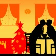 Постер, плакат: Lovely retired elderly couple kissing and enjoying the Christmas holidays and New Year