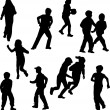 Group of children on the move silhouettes — Stockvektor