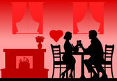 Romantic dinner on Valentine's day silhouette — Stock Vector