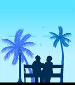 Lovely retired elderly couple on the beach under palm tree — Stock Vector