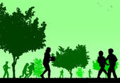 Children play in the park silhouette — 图库矢量图片