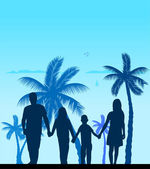 Family walking on beach between the palms silhouette — Stock Vector