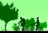 Couple bike ride in park in spring silhouette — Stock Vector