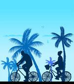 Couple bike ride on the beach silhouette — Stock Vector