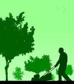 Spring activities in garden, man cut the lawn — Stock Vector