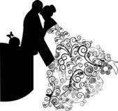 Svatební pár a krásné květinové šaty víří — Stock vektor
