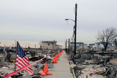 Hurricane devastated area in Breezy Point,NY three months after Hurricane Sandy — Stock Photo