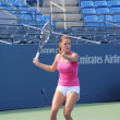 Professional tennis player Agnieszka Radwanska practices for US Open at Billie Jean King National Tennis Center — Stock Photo #20245233