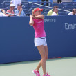 Professional tennis player Daniela Hantuchova practices for US Open at Billie Jean King National Tennis Center — Stock Photo #20245249