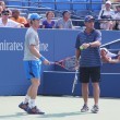 Grand Slam champion Andy Murray with his coach Ivan Lendl practices for US Open at Billie Jean King National Tennis Center — Stock Photo