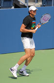 Professional tennis player Milos Raonic practices for US Open at Billie Jean King National Tennis Center — Stock Photo