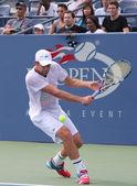 Grand slam şampiyonu andy roddick uygulamaları bizim için billie jean king ulusal tenis merkezi'ni açın — Stok fotoğraf