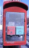 Acil durum raporlama sistemi kutusu düğmeleri polis ve itfaiyeye haber verin — Stok fotoğraf