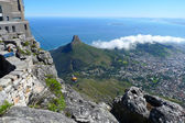 Aslanlar kafa ve cape town, Güney Afrika, alansal görünüm tablo dağın tepesinden. — Stok fotoğraf