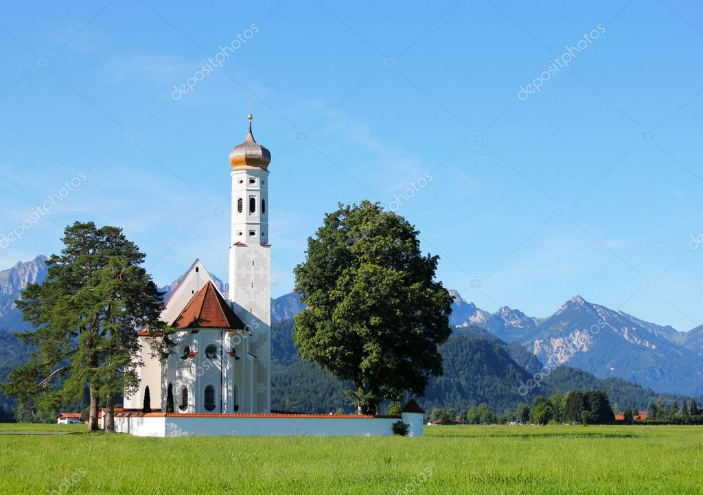 St  Coloman Church, Near Fussen, Bavaria, Germany  Stock Photo #21229377