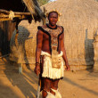 Stock Photo: Zulu warrior in traditional clothes in Shakaland Zulu Village, South Africa