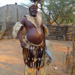 Zulu Chief with speer and shield  in Shakaland Zulu Village, South Africa - Stock Photo